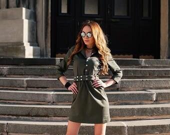 Military Green Dress/Womens Dresses/Spring Dress/Cotton Dress/Short Woman Dress/Dress With Snap Button/Dress With Belt/Comfortable Dress
