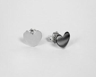 Full Heart Earrings - Classic Earrings - Casual Earrings - Sterling Silver