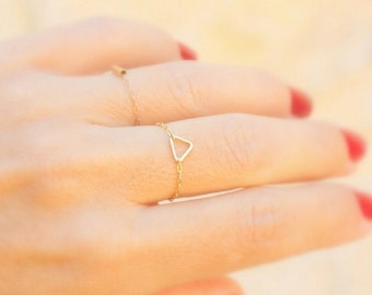 Dainty Gold Triangle Ring -  Tiny Ring Stackable Gold or Silver Rings -  Rose gold Triangle Ring.