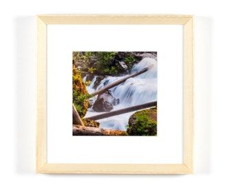 """Rogue River Gorge Waterfall 5""""x5"""" Framed Art Photograph (8""""x8"""" with frame)"""
