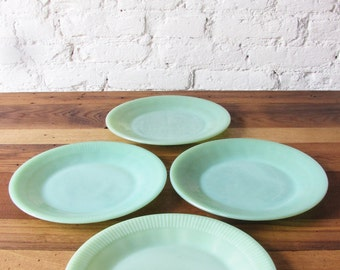 "Vintage Set of 4 Jadeite Jane Ray Dinner Plates 9"" Ribbed Plate by Fire King Anchor Hocking Jadite Green Glass Made in USA"