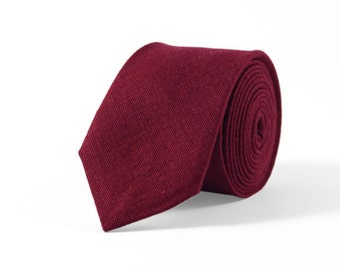 Burgundy red tie, cherry red mens tie, burgundy necktie, red weding tie, mens ties, red linen ties, bow ties for men, red skinny tie