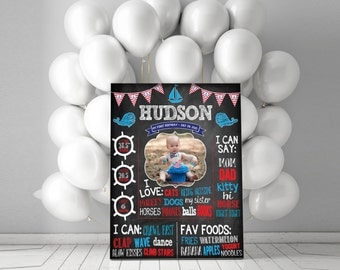 Nautical Birthday Party - Chalkboard Sign With Photospot!  - Boys Birthday Chalkboard Sign