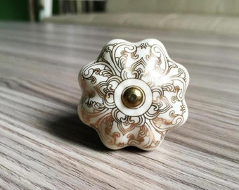 Ceramic Dresser Knob Drawer Knob Pull White Gold Silver Bronze Unique Cabinet Handle Knob Pull Porcelain Cupboard Knob Furniture Hardware
