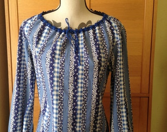 Blue Floral, Polka Dot and Gingham Peasant Blouse with Drawstring Neckline