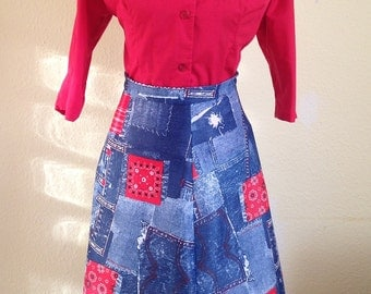 Daisy Duke Skirt,  Bandana and Blue Jeans. 1970s A-line Western Wear Skirt