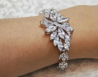 Silver bridal bracelet Silver wedding  bracelet Cubic Zirconia Bracelet Wedding accessories Cz bracelet Bridal jewelry
