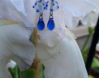 Blue Polka Dot Glass Drop Earrings