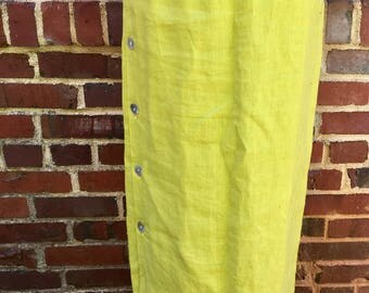 90s Lime Green Linen Skirt // Size M // Made in USA