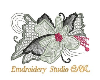 "Machine embroidery design  ""Flowers_014b "" - machine embroidery -  flower embroidery  - flower stylized"