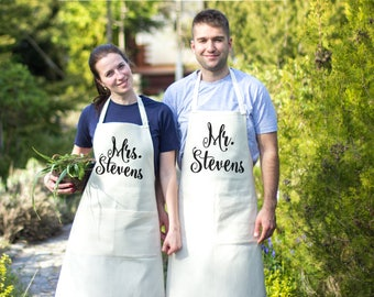 Apron Womens apron Personalized apron Custom apron Mens apron Linen apron Personalized womens aprons Mr and Mrs aprons His hers