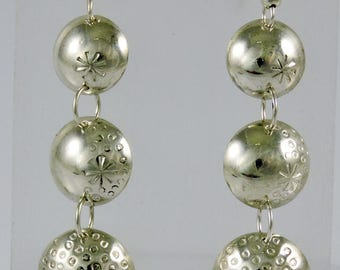 Triple Silver Disk Dangle Earrings By Piki Wadsworth