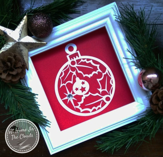 Paper Cutting Template, Personal & Commercial Use, Giant Christmas Bauble (Holly) + Tags, Christmas Card, Christmas Decoration, DIY