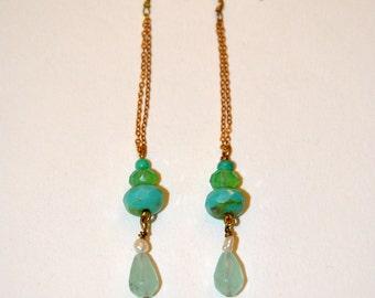 Long vintage earrings, green beads