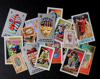 FREE SHIPPING ; 20 Colorful Vintage Worldwide Mask postage stamps for collecting, crafting, scrapbook pages, collages etc.