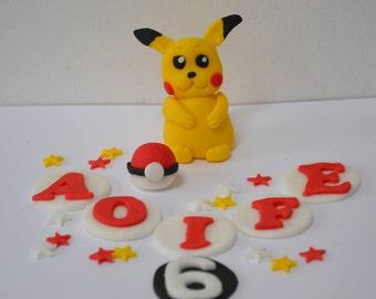 Handmade edible Pokemon, pikachu Cake Cake Topper, birthday