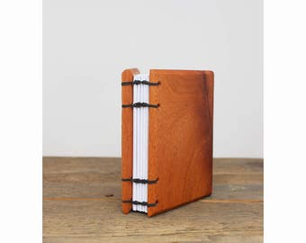 Mahogany Wood Covered Notebook - Handbound Journal - Sketchbook - Travel Journal - Unique Personalized Gift for Writer - First Anniversary