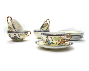 Chinese porcelain coffee cups, coffee set, tea set, faience, vintage, 1930s