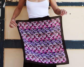 Boho hippie black peace multi color vintage scarf,foulard,neckerchief,bandana
