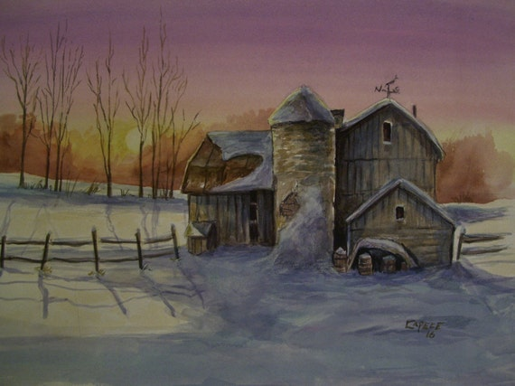 Winter On The Farm,16x20 Original Watercolor,ONE OF A KIND, Not a Print,Free Shipping Code SKYE2