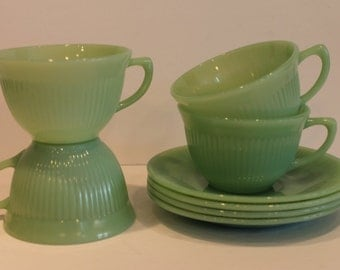 Fire King Jade-ite - Jadeite Teacup and Saucer - Set of 4 Jane Ray Teacup and Saucer -  Jane Ray Pattern Jadite - Opalescent Jadeite