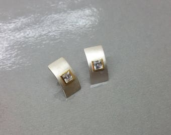 925 Crystal stone partly gold plated ear studs earrings silver SO230
