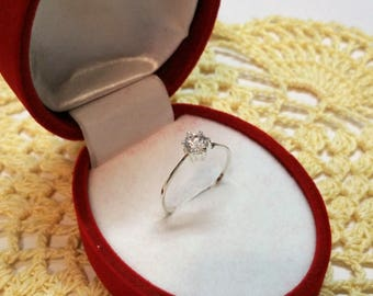 17.8 mm ring Silver 925 with Crystal stone SR368