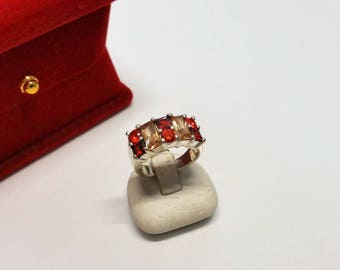 17.2 mm ring Silver 925 Crystal Red/beige SR744