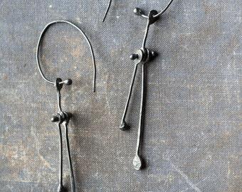 big kinetic botanical earrings in 925 silver, oxidised sterling silver unusual riveted modernist statement earrings