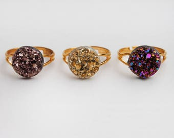 Golden Druzy Rings