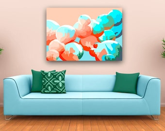 Large scale abstract art print in coral turquoise and blue, Geometric living room art ideal for first home, Circular design graphic print
