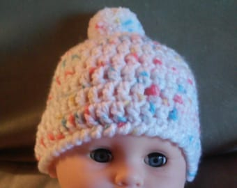 Infant Crochet Hat, Hat with PomPom, Baby Hat, Child Hat, Beanie, Winter Hat, Stocking Hat, Cap
