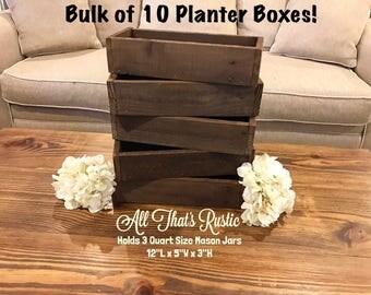 Bulk of 10 Planter Boxes, Rustic Planter Boxes, Wedding Decor, Wedding Centerpiece, Rustic Wedding Decor, Rustic Centerpiece, Planter Box