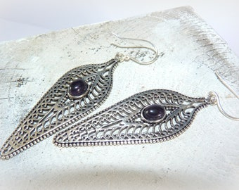 Ethnic feathers Silver earrings and jewel-Amethyst stones natural-earrings ear-print money-tribal watermark