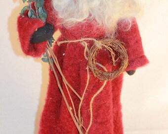 Felted Wool and Wood Santa