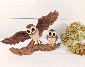 Vintage Owl On A Branch Figurine Statue