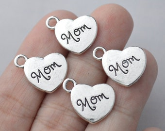 4 Pcs Mom Charms Family Charms Antique Silver Tone 2 Sided 14x18mm - YD1142