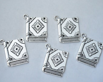 3 Pcs Book Charms Antique Silver Tone 26x20mm - YD0432