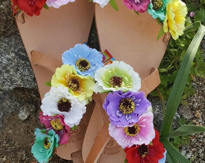 "Greek sandals,handmade,gladiators sandals,boho sandals,flowers,leather sandals,colorful,""FIORELLA"",women's sandals,"