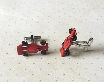 Red Race Car Cufflinks Cuff Links in Silver