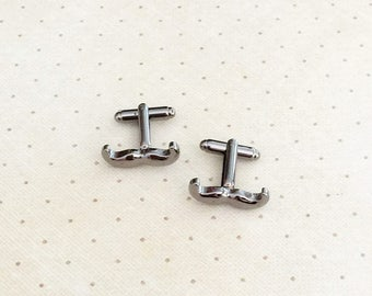 Mustache Cufflinks Hipster Moustache Cuff Links in Dark Grey