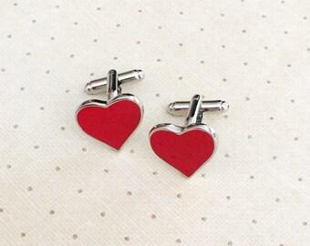 Red Heart Valentine's Day Cufflinks Cuff Links in Silver