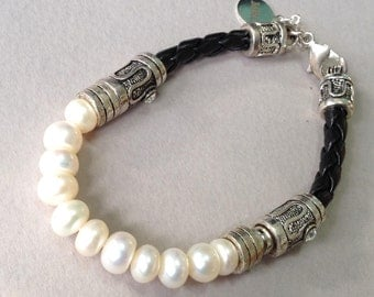 MRC Silver, Pearl and Leather Bracelet