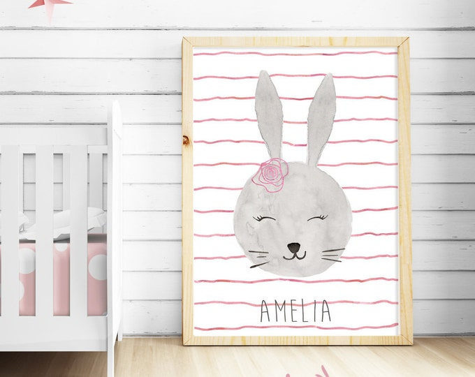 CUSTOM BUNNY Watercolor nursery baby decor handmade,personalized name.Pink shades decor, Nursery Art, kids's room art,baby GIRL,custom Print
