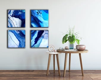 Ocean, wave, nautical, blue, square art, set of 4 or individuals, beach theme, soothing modern abstract art resin