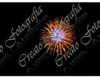 Orange and Blue Fireworks, Orange Fireworks, Blue Fireworks, Fourth of July Fireworks Photo, Miami Fireworks Photo -  Digital Download, JPEG