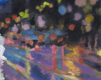 Original City Lights Abstract Acrylic Painting