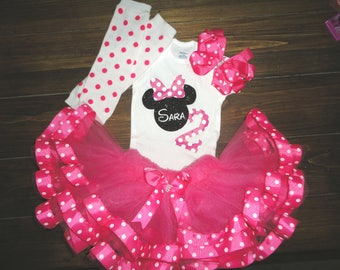 Pink minnie mouse birthday outfit, first birthday minnie mouse outfit, second birthday outfit, birthday onesie, minnie birthday shirt, tutu