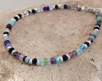 Multicolored bracelet, gemstone bracelet, Hill Tribe silver bracelet, colorful bracelet, fall bracelet, sundance style bracelet gift for her