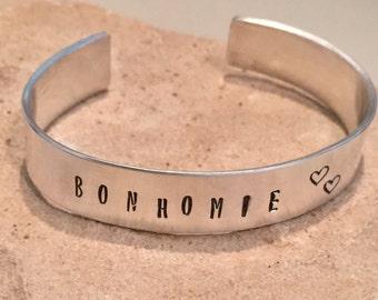 """Sterling silver word cuff bracelet,  """"Bohomie"""" word cuff bracelet, hand stamped sterling silver bracelet, sterling silver bracelet"""